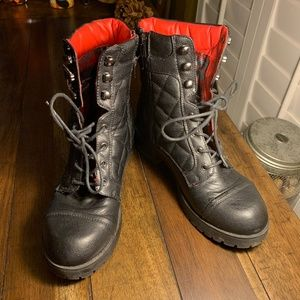 EUC Guess Quilted Black Martha Combat Boots